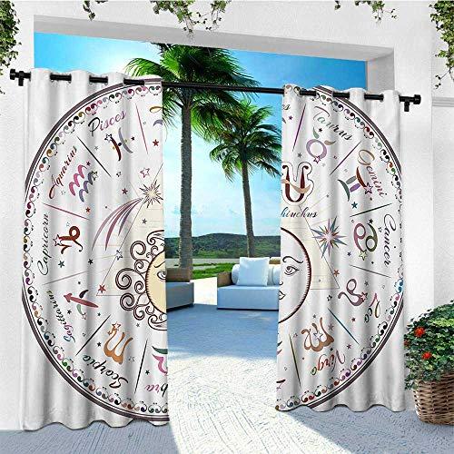 leinuoyi Zodiac, Outdoor Curtain Pair, Western Chart with All Signs Aries Virgo Leo Taurus Libra Mystique Fate Calendar, Balcony Curtains W84 x L108 Inch Multicolor