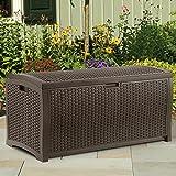 Suncast Resin 73-Gallon Deck Box - Mocha Brown - DBW7300