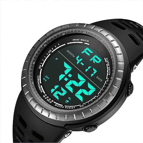 e5b4522015a0 CFGem Digital Deporte Impermeable Reloj de Hombre con PU Banda de Plástico  SNK-9688 Negro