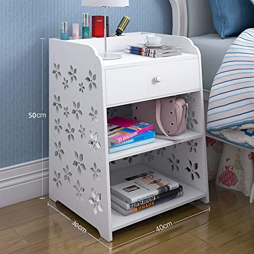 FRITHJILL PVC Bedside Table,Cherry Blossom Pattern White Nightstand Bedroom Night Stand End Table Side Table Coffee Table with Drawer