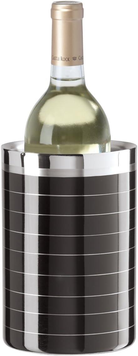 Oggi 7380.3 Stainless Steel Double Walled Wine Cooler Black Stripe
