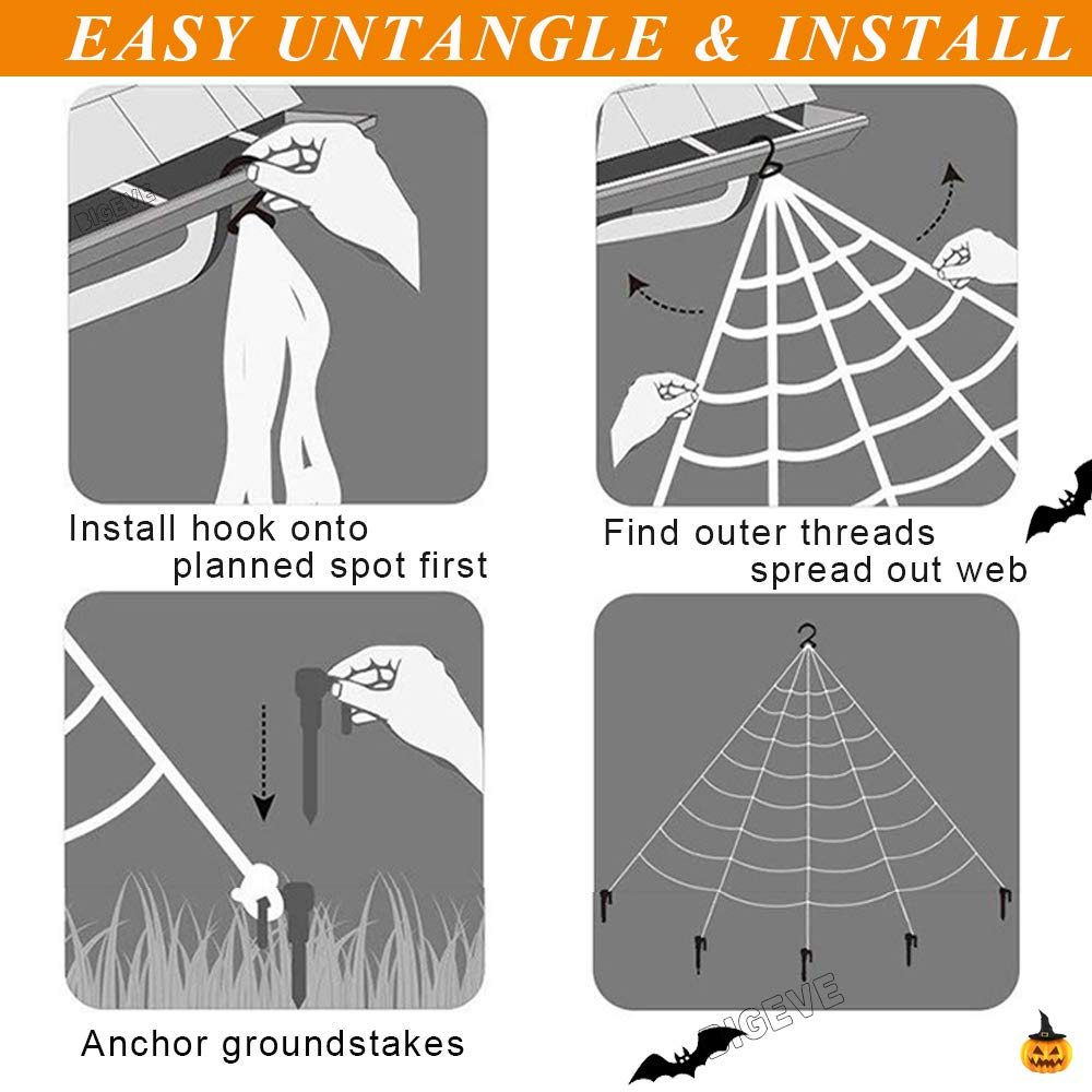 Outdoor Halloween Decorations, Giant Halloween Spider Web Decoration 16.5ft Large Spider Web with 19.7 inch Hairy Spider Stretch Spider Web 10 Plastic Spiders Halloween Party Decorations Supplies Outdoor Yard Decor - White Web
