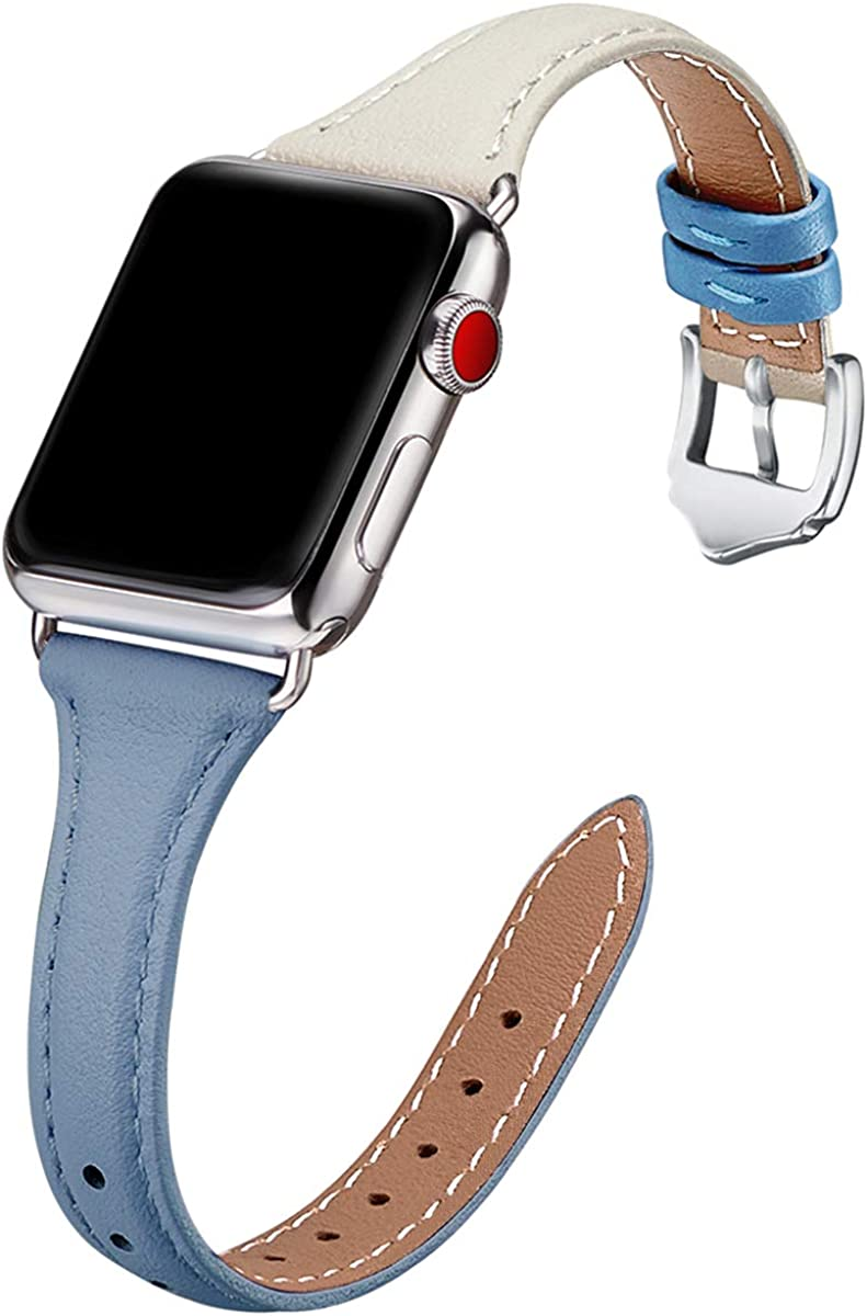 WFEAGL Genuine Leather Watch Bands Compatible with iWatch 38mm 40mm 42mm 44mm, Slim & Soft Replacement Wristband for Apple Watch Series 5/4/3/2/1 (LightBlue IvoryWhite Band+Silver Adapter, 42mm 44mm)