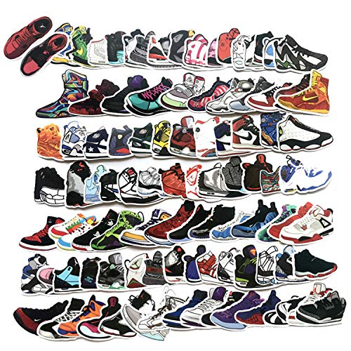 100 Pcs Fashion Brand Sneakers Basketball Shoes Sports Shoes Stickers for Laptop Stickers Motorcycle Bicycle Skateboard Luggage Decal Graffiti Patches Stickers[No-Duplicate Sticker Pack]]()
