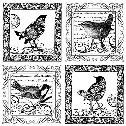 Crafty Individuals Unmounted Rubber Stamp, 4 Little Songbirds, 4.75