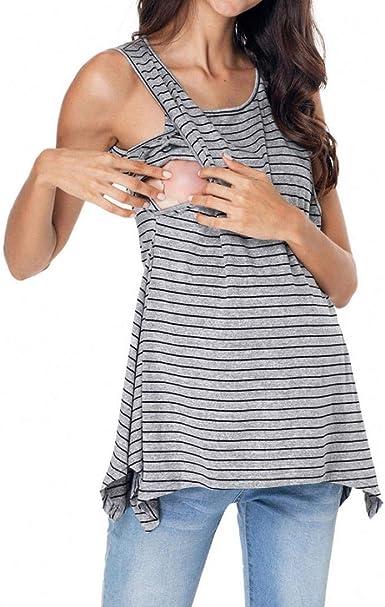 QinMM Camiseta de Lactancia Maternidad a Rayas Chaleco Camisa Mujer Blusa Breastfeeding Embarazadas Premamá Primavera otoño Tops: Amazon.es: Ropa y accesorios