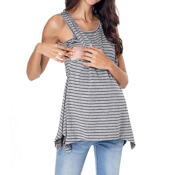 QinMM Camiseta de Lactancia Maternidad a Rayas Chaleco Camisa Mujer Blusa Breastfeeding Embarazadas Premamá Primavera otoño Tops: Amazon.es: Ropa y ...