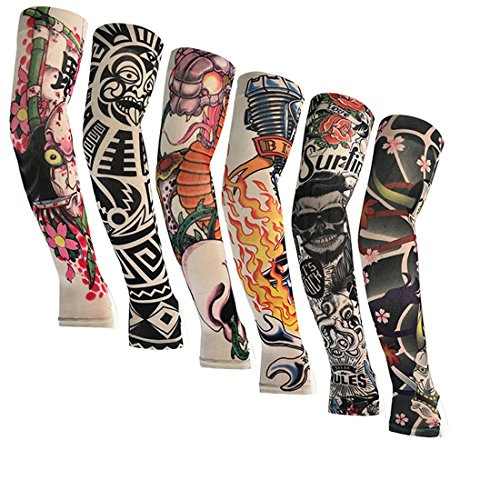 KEHUASHINA 6 Pairs Japanese Art Tattoos Arm Sleeves Cover UV Sun Protection Outdoor Sports Unisex Half-Finger UV Cover