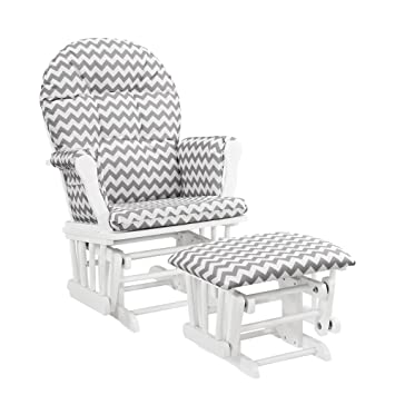 Awesome Windsor Glider And Ottoman White With Gray Chevron Machost Co Dining Chair Design Ideas Machostcouk