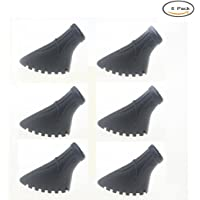 Crestgolf Pack of 6 Pieces / 3 Pairs of Nordic Walking Pads for Asphalt Trekking Pole Rubber ferrule for Asphalt and Stone