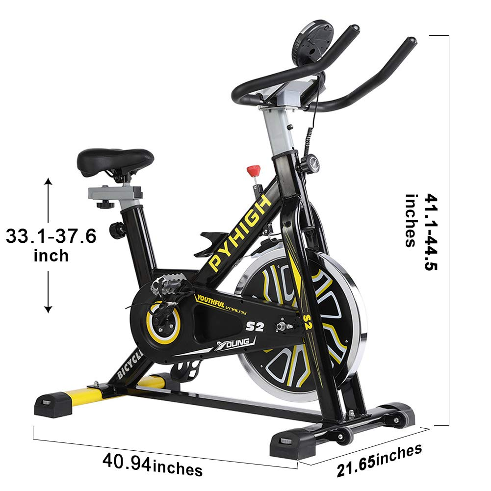 PYHIGH Indoor Cycling Bike Belt Drive Stationary Bicycle Exercise Bikes with LCD Monitor for Home Cardio Workout Bike Training- Black by PYHIGH (Image #7)