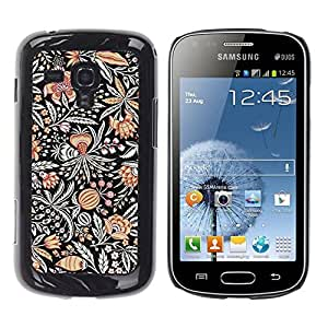 Be Good Phone Accessory // Dura Cáscara cubierta Protectora Caso Carcasa Funda de Protección para Samsung Galaxy S Duos S7562 // Drawn Pattern Flower Black Paint