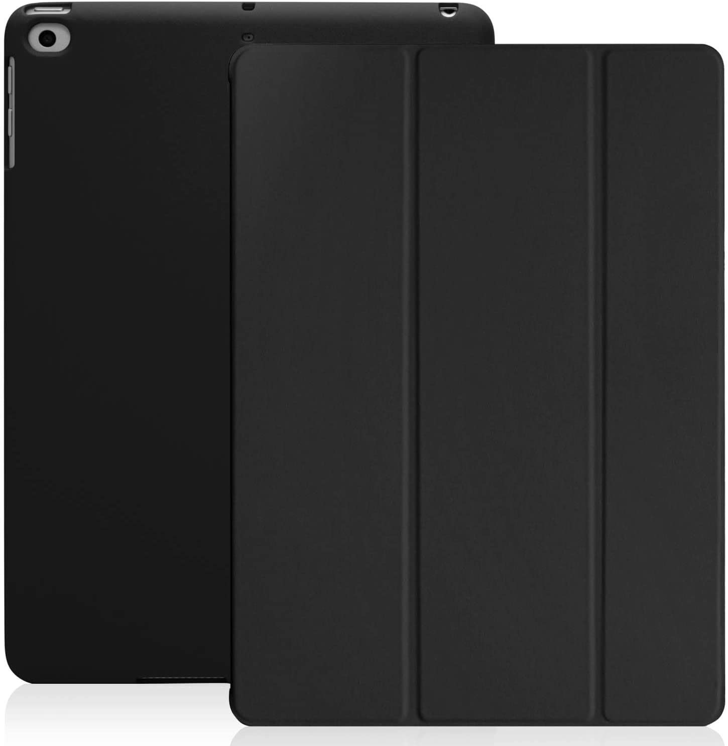 KHOMO iPad 2017 and 2018 9.7 inch Case - Dual Series - Ultra Slim Hard Cover with Auto Sleep Wake Feature - Black