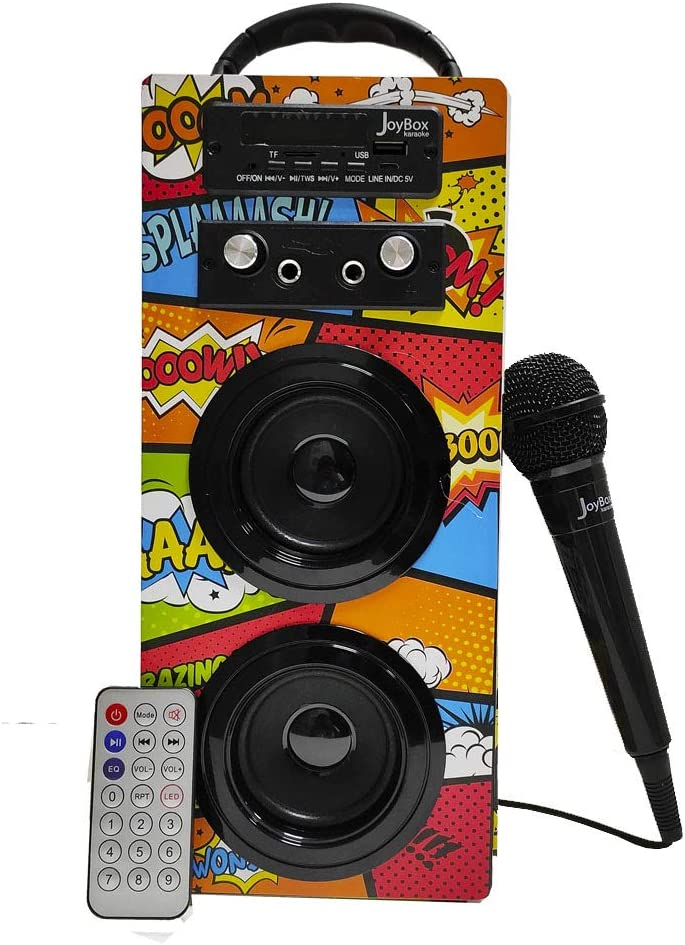 Biwond JoyBox Karaoke Altavoz 10W + Micrófono (Bluetooth TWS, Mando IR AUX, Radio FM, Tarjeta SD, USB, Pantalla LED) – Comic