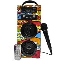 Biwond JoyBox Karaoke Altavoz 10W + Micrófono (Bluetooth TWS, Mando IR AUX, Radio FM, Tarjeta SD, USB, Pantalla LED…