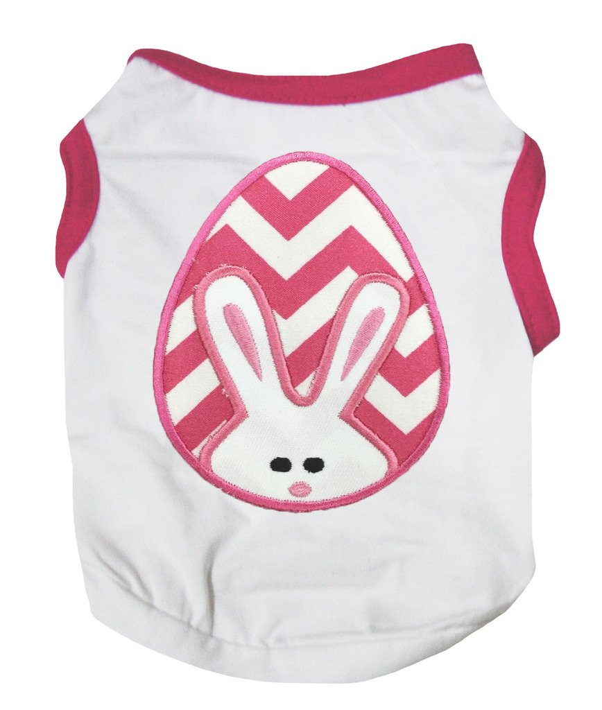 Petitebella Puppy Clothes Dog Dress Chevron Bunny Egg Hot Pink White T-Shirt (Medium)