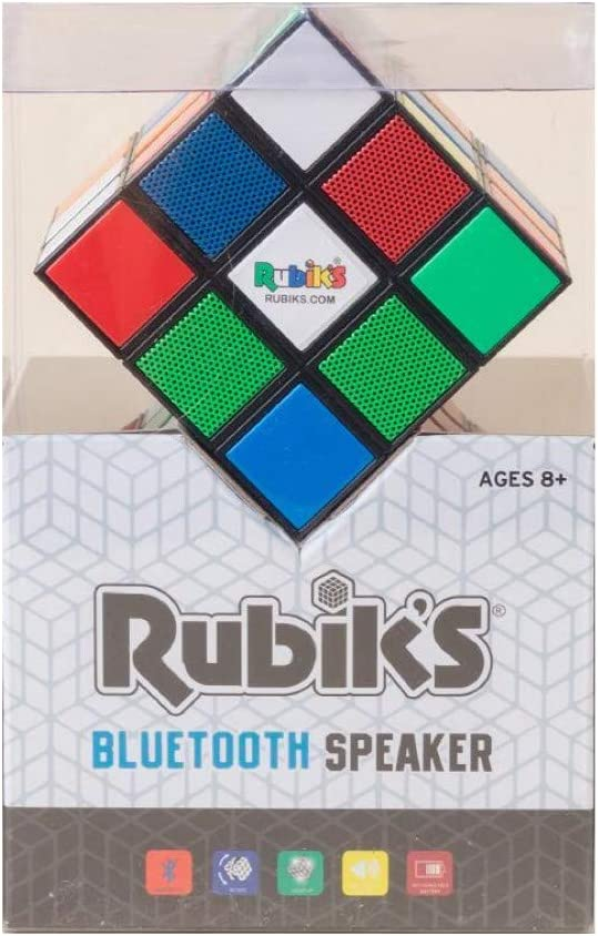 Lights up for Super Fun,Works with All Bluetooth Devices Rubiks SP2-17715 Rotating Flashing Retro Bluetooth Speaker Lightweight and Portable Great Technology Rechargeable Bluetooth Speaker