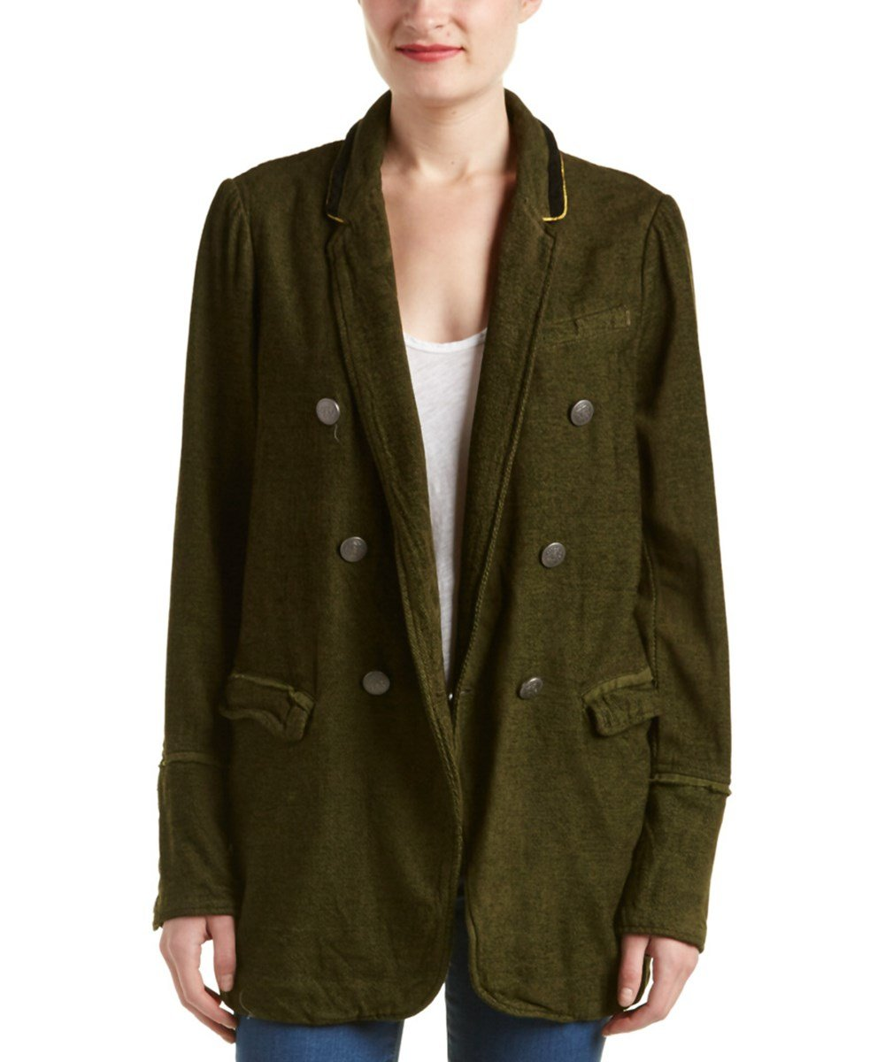 Free People Women's Double-Breasted Chenille Blazer (Small, Green) by Free People
