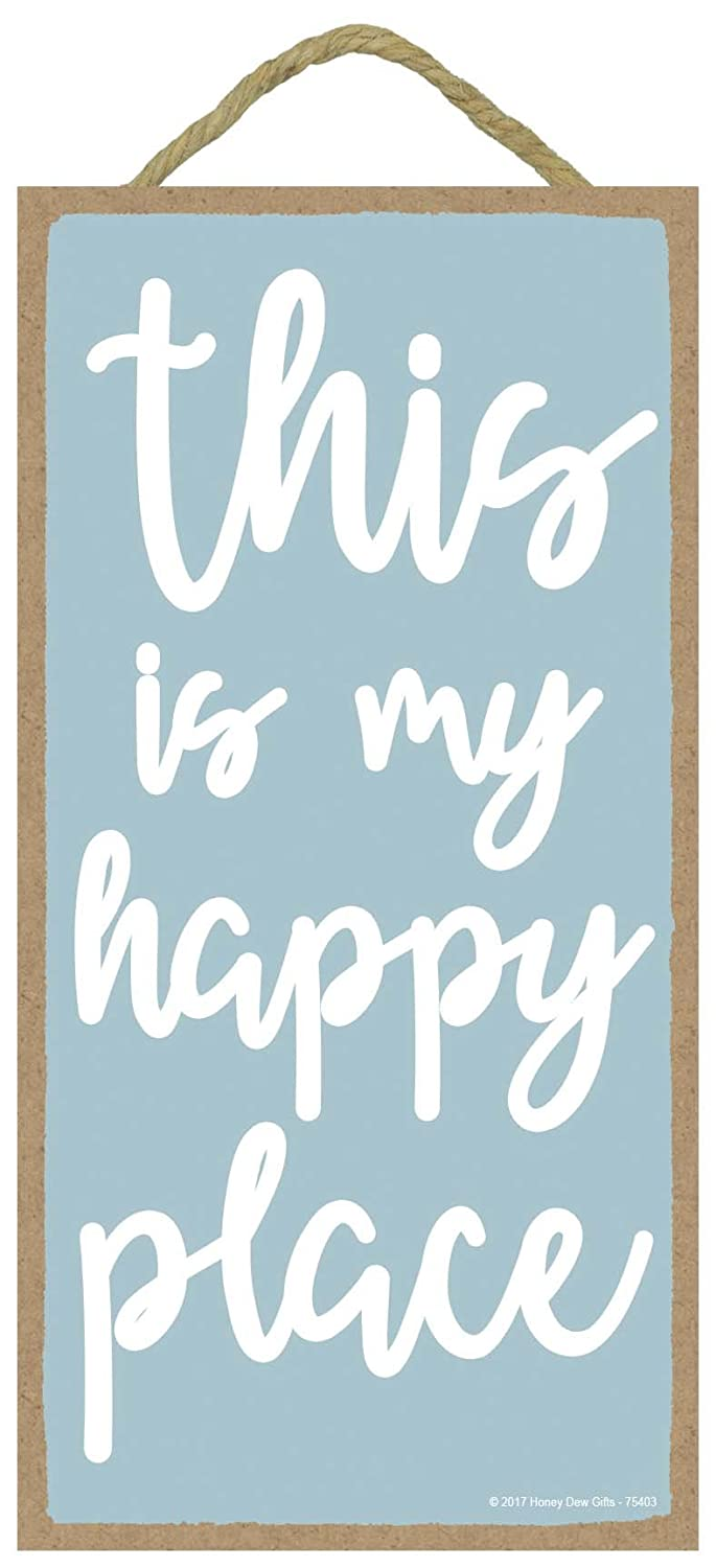 Honey Dew Gifts Wall Hanging Decorative Wood Sign - This is My Happy Place 5x10 Hang on The Wall Home Decor