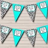 Black Turquoise Teal Animal Print Hen Do Night Party Bunting Banner