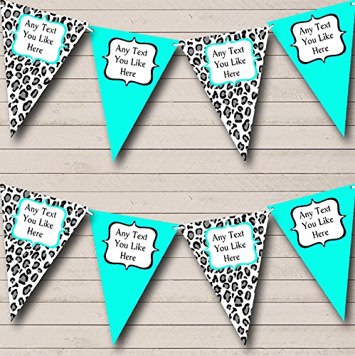 Black Turquoise Teal Animal Print Hen Do Night Party Bunting Banner by The Card Zoo
