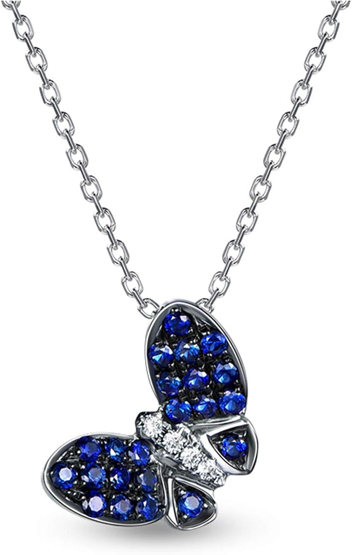KnSam Collar de oro blanco de 18 quilates para mujer, con colgante de mariposa real, zafiro de 0,3 quilates y diamante de 0,04 quilates, color plateado y azul