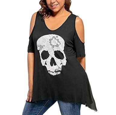 4ca27316d968 Rovinci Damen Sommer Kurzarm T-Shirt Casual Lose Over Size O-Ausschnitt  Kalte Schulter