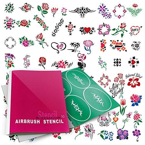 PointZero Temporary Tattoo Airbrush Stencils 100 Designs - Book 10