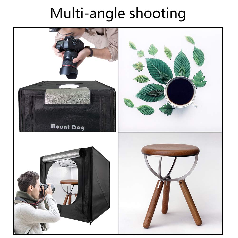 MountDog Photo Studio LED Light Box 20''/50cm Portable Photography Tent Table Top Shooting Tent with 3 Colors Backdrops for Still Life by MOUNTDOG (Image #2)