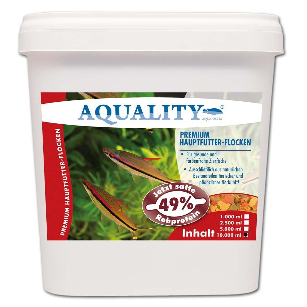 AQUALITY PREMIUM Hauptfutter-Flocken 10.000 ml (GRATIS Lieferung innerhalb Deutschlands - Top Premium Fischfutter Flocken mit satten 49% Rohprotein - das wertvolle Nature Hauptfutter. Aussschließlich aus natürlichen Bestandteilen tierischer und pflanzlich