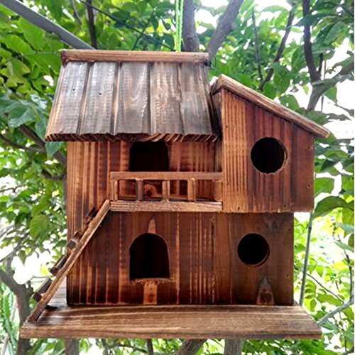 Preservative Wood Bird Houses for Outside Hanging Garden Decor,Birds Nest Box (L)