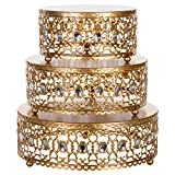 Amalfi Décor 3-Piece Cake Stand Riser Set, Rhinestone Crystal Gem Dessert Cupcake Display Pedestal Jeweled for Weddings Events Birthdays Parties Food Tower Plate (Gold)