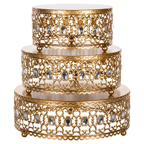 (Amalfi Décor 3-Piece Cake Stand Riser Set, Rhinestone Crystal Gem Dessert Cupcake Display Pedestal Jeweled for Weddings Events Birthdays Parties Food Tower Plate (Gold))