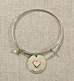 Set of 4 Grateful Heart Silver Bangle with Heart