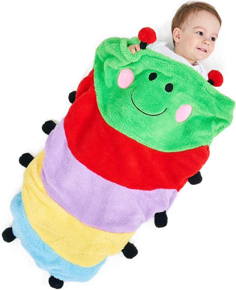SINOGEM Plush Caterpillar Tail Blanket for Kids, Pocket Style Flannel Fleece Animal SleepingBags, Rainbow Caterpillar Design Snuggle Blankets for Movie Night, Sleepovers, Camping, Boys and Girls