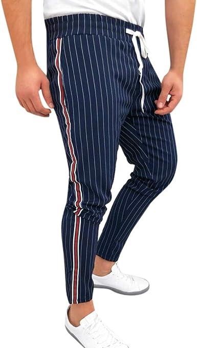 Pantalón para Hombres Slim-Fit Raya Lateral Casual a Cuadros Moda ...