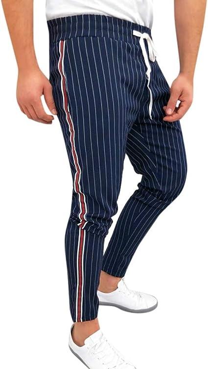 ACEBABY Pantalones cosidos de Rayas Laterales a Rayas para Hombres ...