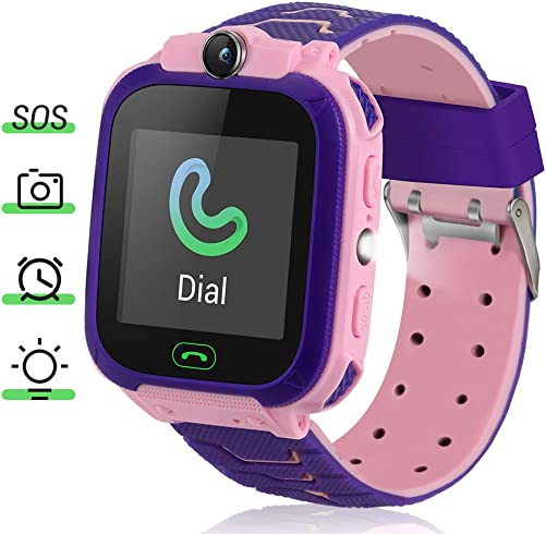 Kids Smart Watch, 1.44 Touch Screen Kids Smart Watches with LBS Tracker Games SOS Call Camera Flashlight Smart Watch for Kids, Kids Phone Watches Compatible with iOS Android Pink