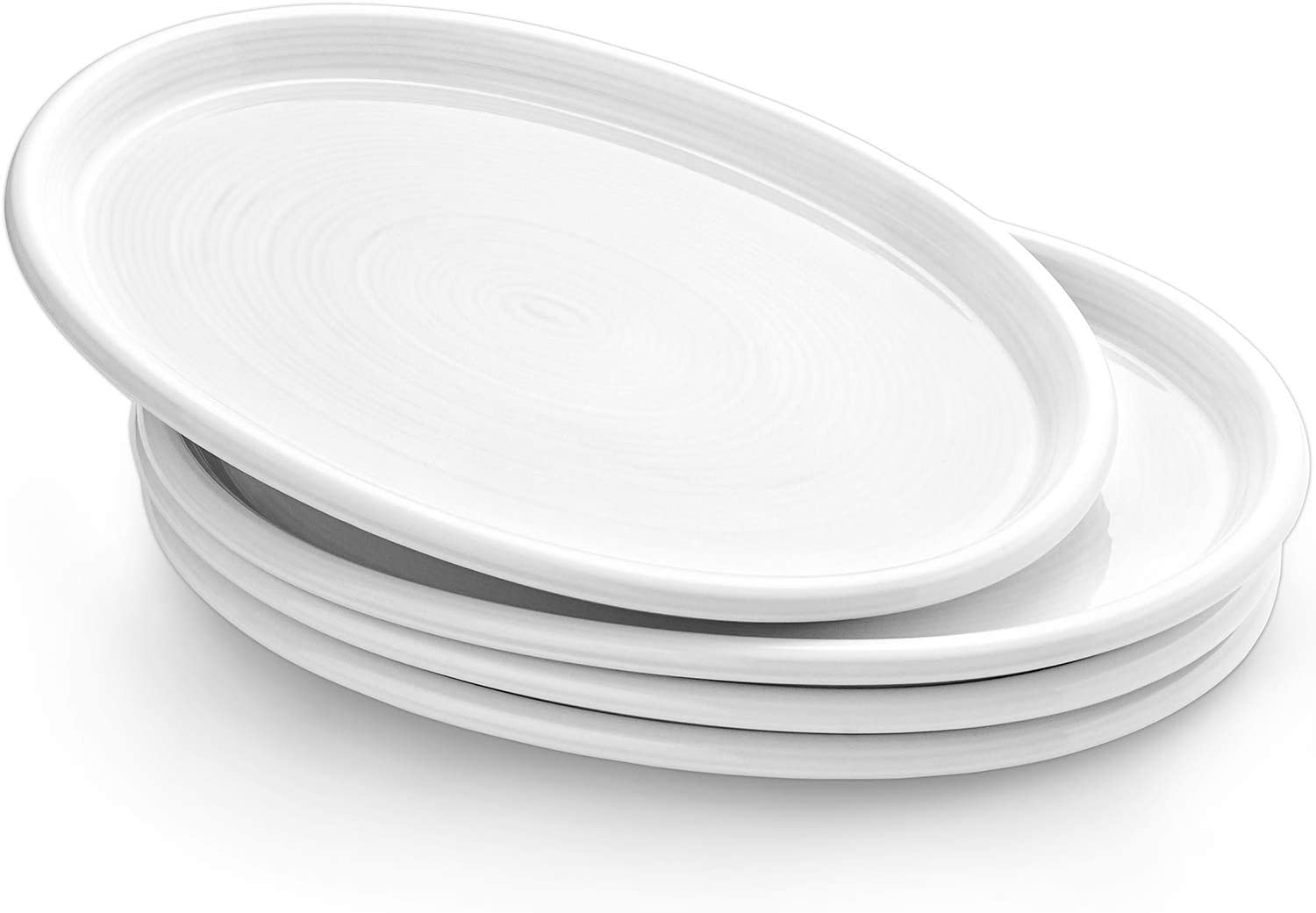 LE TAUCI Serving Platter Dishes, 12-inch Ceramic Serving Ware Oval, Dinner Plates Oven Safe, Party Trays Set for Turkey, Meat, Fish, Appetizers, Snacks, Sushi, Dessert, Set of 4, White