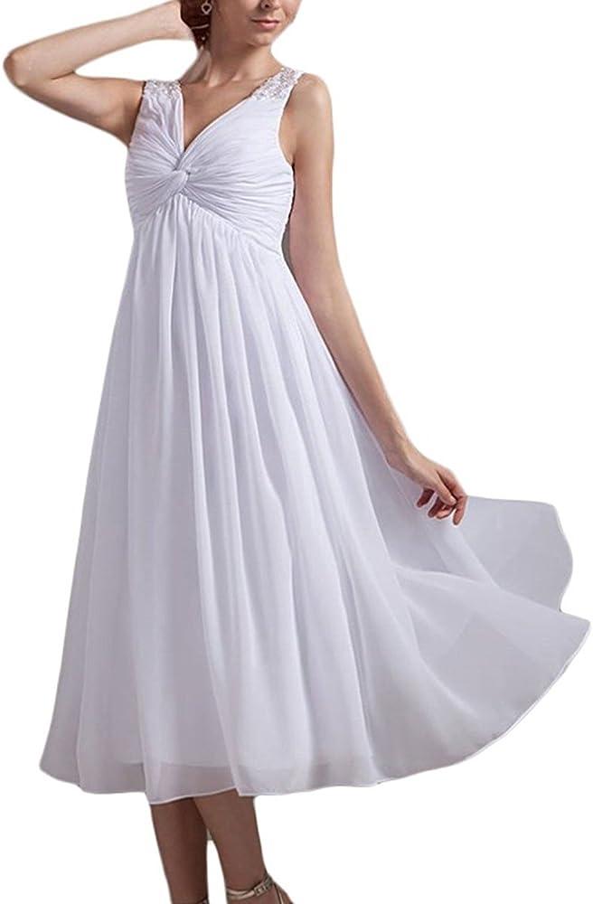 Short Empire Waist Tea Length Chiffon Wedding Dresses For Brides