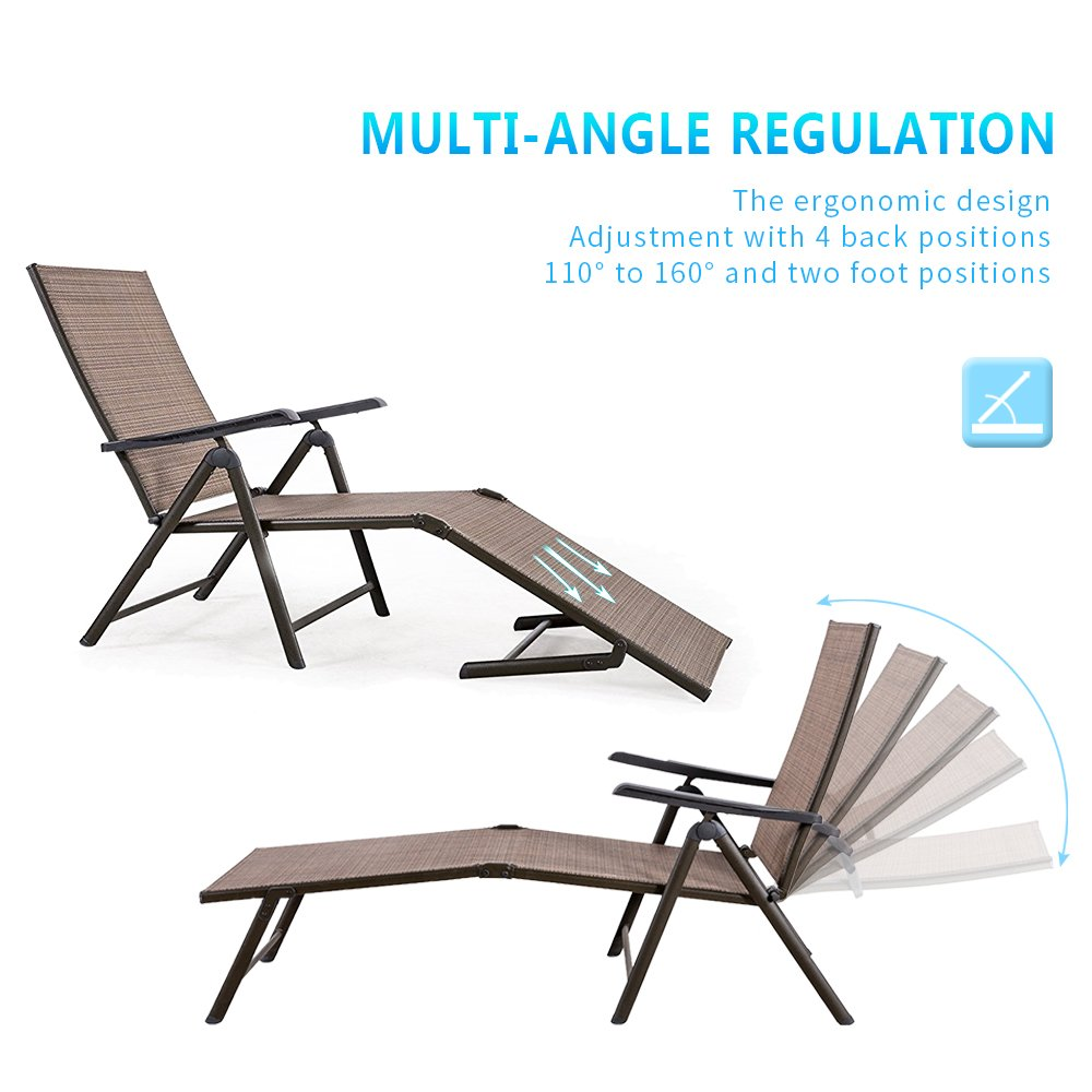 BaoChen Outdoor Chaise Lounge Chair – Folding Recliner Patio Pool Beach Sunny Adjustable Lounge Chair with Armrest, 2 Packs