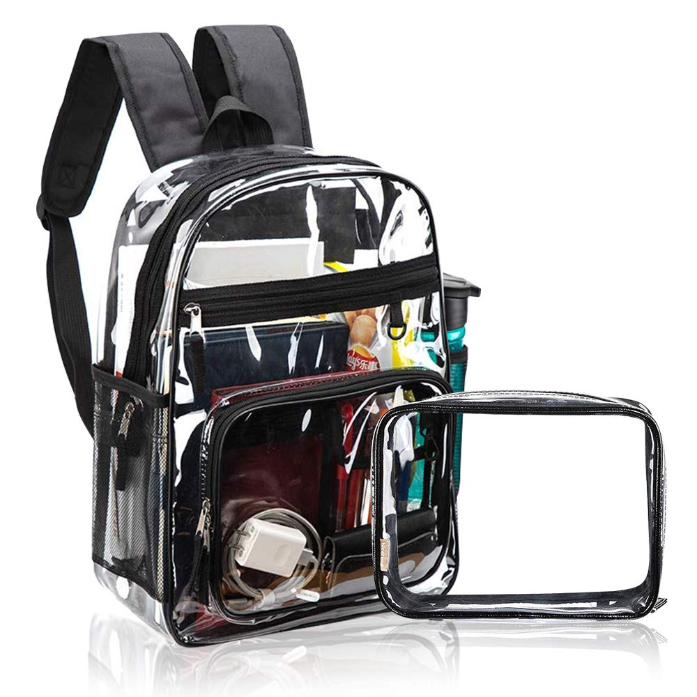 ヘビーデューティー クリアプラスチックバックパック クリアバッグ付き クールな透明ブックバッグ 男の子用 大きなスクールバッグ ビニールバックパック デイパック B07QLKKNYG