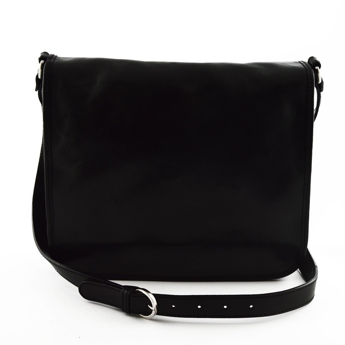 Made In Italy Genuine Leather Messenger Bag 2 Compartments Color Black - Man Bag B01BL5AVEW