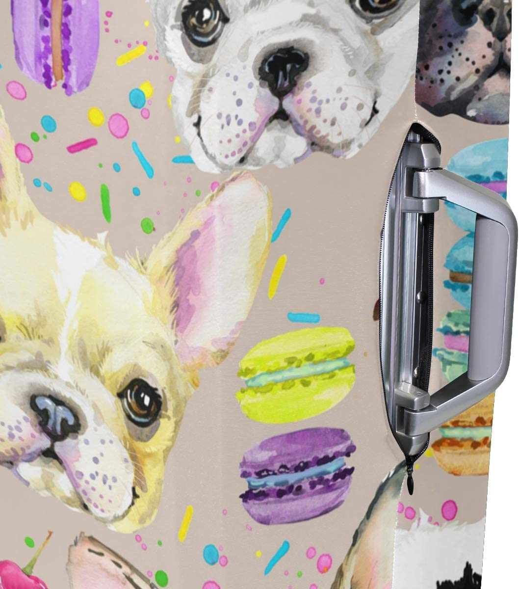 FOLPPLY Funny Bulldog Face With Macaron Pattern Luggage Cover Baggage Suitcase Travel Protector Fit for 18-32 Inch