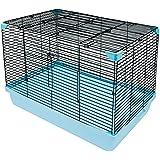 HamsFam Small Animal Habitat, Hamster Cage Blue and Black