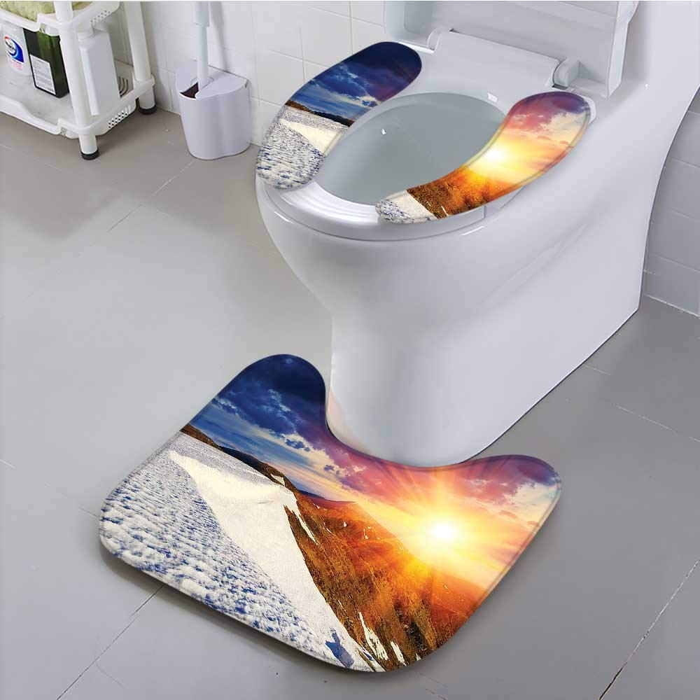 Philiphome Toilet seat Cushion Sunshine Clouds Nature Mountain and Valley Sun Divider in College Landscape Home White Machine-Washable