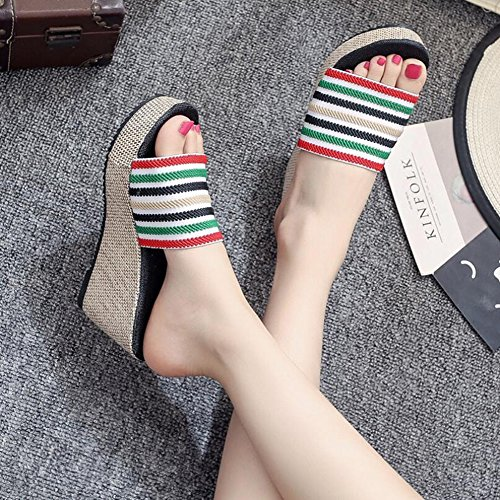 for Outdoor Summer Shoes amp; Walking Shoes Ladies Toe Size Wedge A Color Loafers ONS Heel Comfort White 35 Open Sandals Cloth Black Women's Slip vaTxT