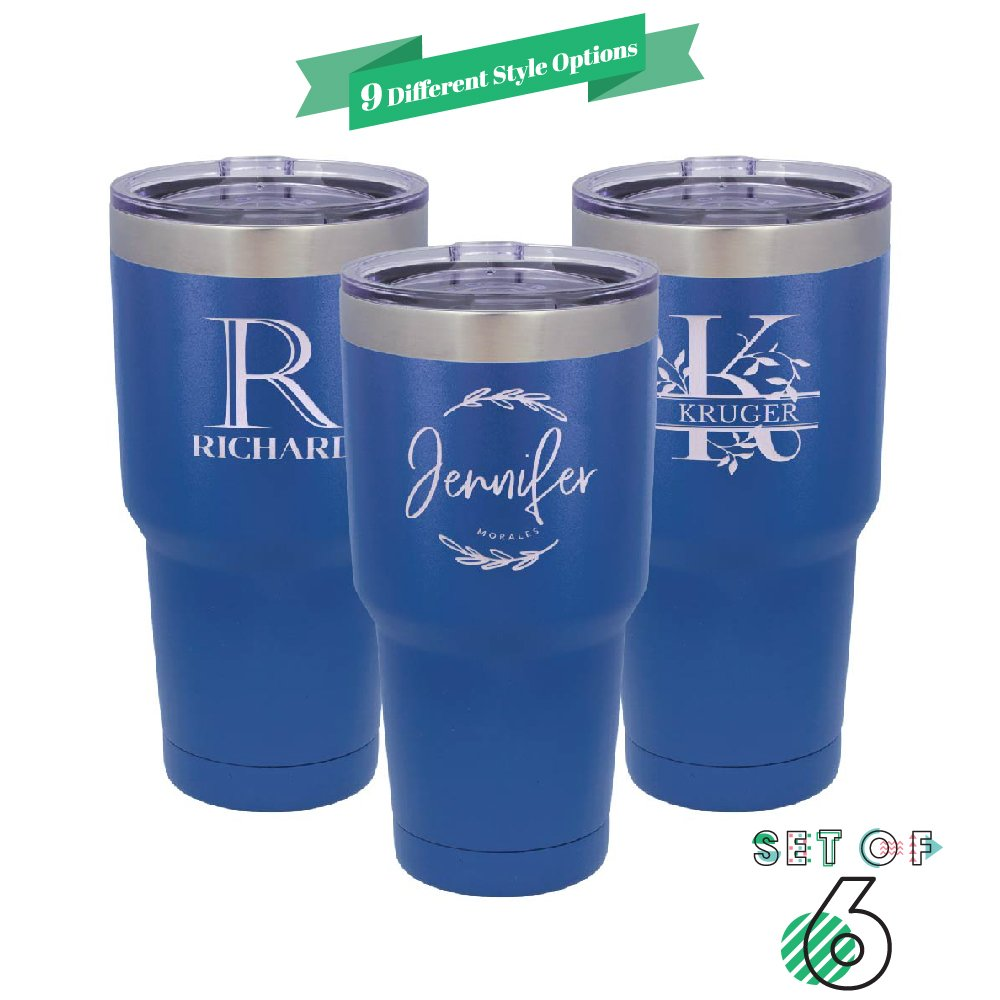 Be Burgundy - Set of 6 - Polar Camel Personalized Tumbler 30 oz. w/Clear Lid |9 Different Design | Engraved Powder Coated Cups with Double-Wall Vacuum Sealed Sweat Free - Q6 - Heat & Cold - Royal