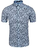 Coofandy Mens Casual Short Sleeve Floral Print Slim Button Down Shirt