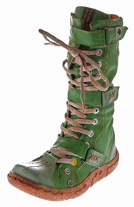 Fashion Stiefeletten Damen Schuhe Used Optik Leder Boots 9702 Braun 36